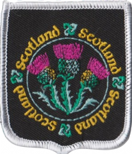 Scotland Thistles Black Embroidered Badge (a311)